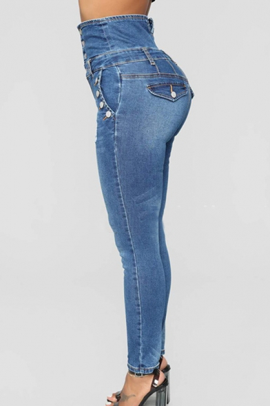 Womens New Trendy High Rise Button-Fly Ripped Skinny Fit Blue Jeans
