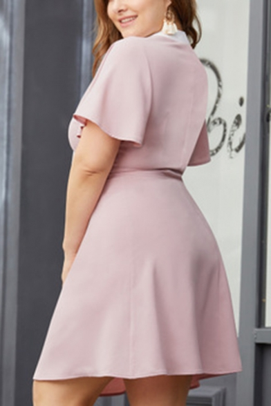 Womens Plus Size Chic Bow-Tied Collar Short Sleeve Pink Mini A-Line Dress