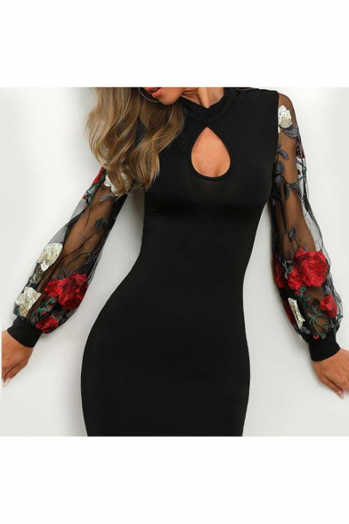 Womens Sexy Cutout Front Floral Embroidery Mesh Long Sleeve Black Mini Tight Dress