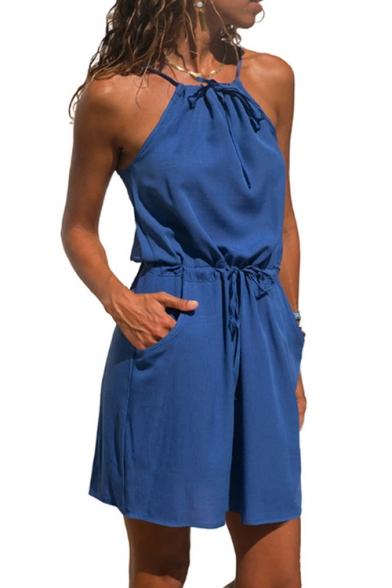 Womens Summer New Trendy Simple Plain Drawstring Waist Mini Sheath Cami Dress with Pocket