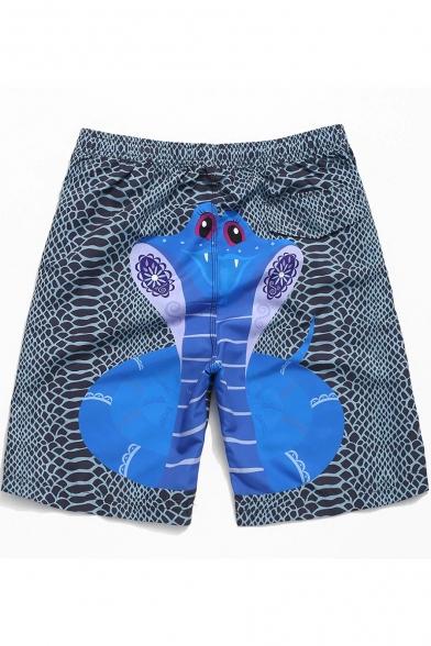 Cartoon Snake Printed Men's Blue Drawstring Waist Beach Holiday Swim Shorts