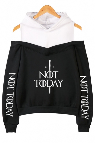 Fancy Sword Letter NOT TODAY Cold Shoulder Fake Two-Piece Pullover Casual Hoodie