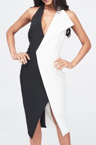 Fashion Halter V Neck Color Block Open Back Slimming Asymmetric Hem Midi Evening Dress