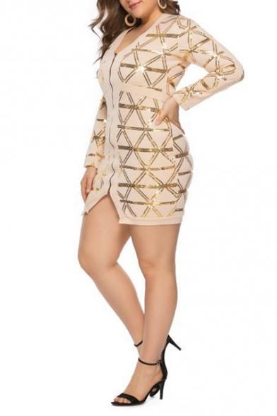 Fashion V-Neck Long Sleeve Apricot Sequined Oversized Bodycon Mini Dress