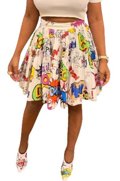 Fashion White Cartoon Graffiti High Waist Mini A-Line Pleated Skirt