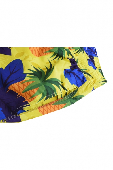 Men's Summer Fashion Yellow Pineapple Printed Drawcord Waist Beach Swim Trunks with Lining