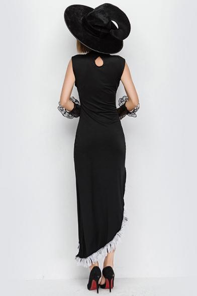 New Fancy Black Halloween Witch Cosplay Costume Tassel Hem Maxi Asymmetrical Dress with Hat