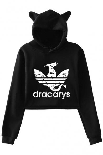 New Fancy Dragon Dracarys Long Sleeve Cute Cat Ear Cropped Hoodie