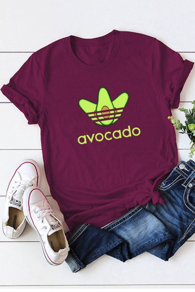 New Stylish Funny AVOCADO Printed Short Sleeve Casual Tee