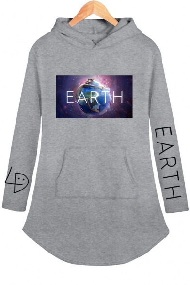 New Trendy Unique Galaxy Earth Printed Long Sleeve Mini Hoodie Dress for Women