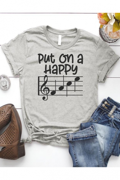 Put on a Happy Graphic Printed Basic Short Sleeve Casual Grey Tee