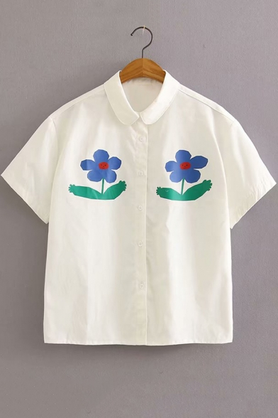 Simple Cartoon Floral Printed Short Sleeve White Shirt for Girls