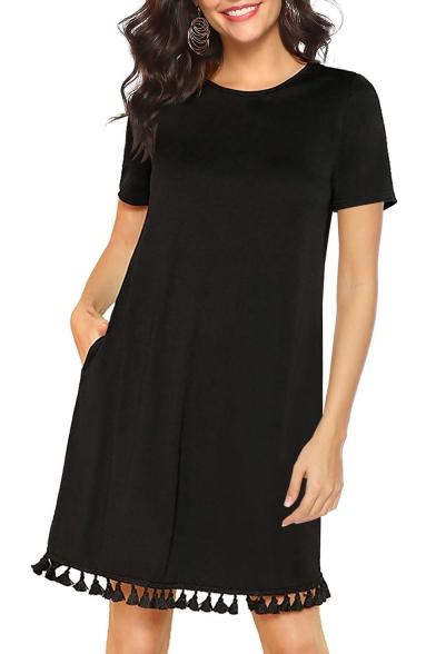 Summer Hot Trendy Solid Color Round Neck Short Sleeve Tassel Hem Mini T-Shirt Dress with Pocket