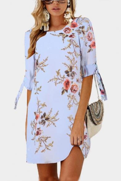 Summer Floral Print Tie 3/4 Sleeve Round Neck Mini Shift Chiffon Dress for Women