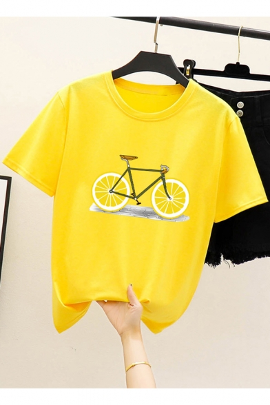 Trendy Funny Lemon Bicycle Printed Round Neck Short Sleeve Tee, LM522619, Black;pink;red;white