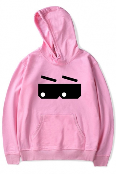Unique Lovely Cartoon Glasses Printed Basic Casual Unisex Hoodie