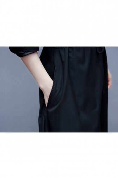 Women's Casual Collared Long Sleeve Color Block Zip Front Drawstring Waist Maxi Black Sweatshirt Dress