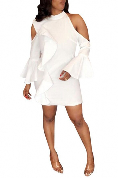 Women's Sexy Cold Shoulder Collared Plain Print Ruffle Long Sleeve White Mini Bodycon Dress