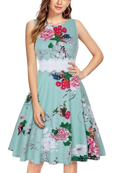 Womens Hot Fashion Round Neck Sleeveless Lace-Panel Waist Floral Print Midi Swing Dress