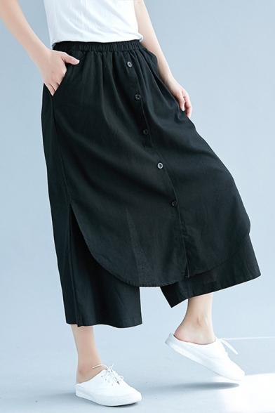 Womens New Stylish Unique Button Front Elastic Waist Linen Loose Cropped Culotte Pants