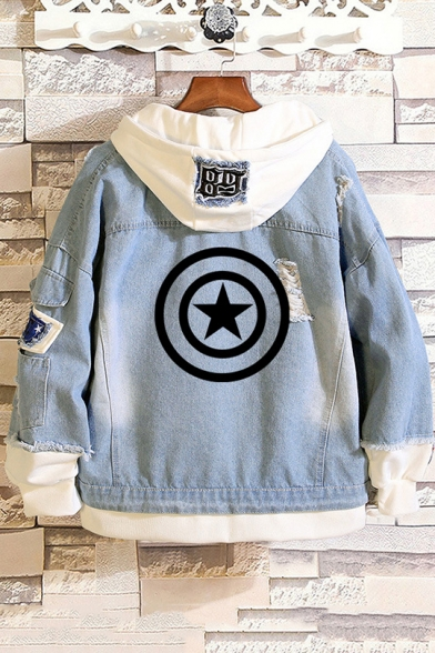Womens New Trendy Fashion Logo Printed Patched Hooded Ripped Denim Jacket
