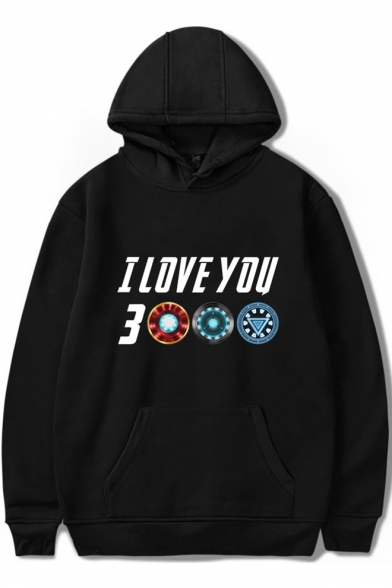 Cool Letter I Love You 3000 Times Basic Simple Long Sleeve Pullover Hoodie