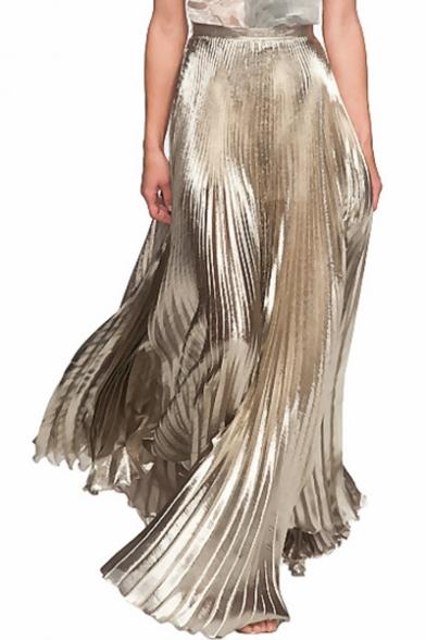 Designer Unique Fashion Metallic Color Elastic Waist Silk Satin Maxi Pleated Skirt