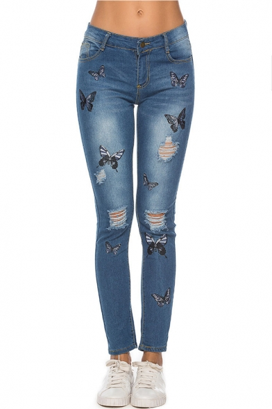 Fashion Allover Butterfly Embroidery Ripped Dark Blue Regular Fit Jeans for Women
