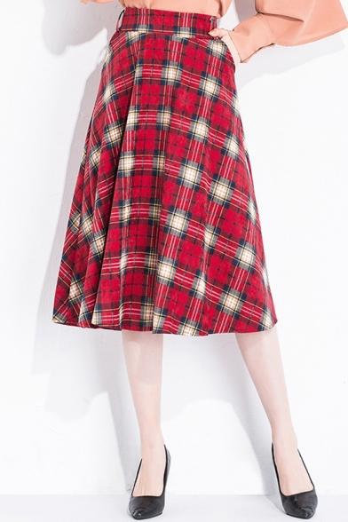 Fashion Classic Plaid Check Pattern Midi A-Line Skirt