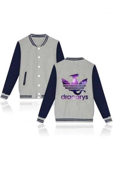 Fashion Purple Galaxy Dragon Dracarys Print Rib Stand Collar Button Down Varsity Baseball Jacket