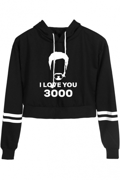 Fashion Stripe Long Sleeve Figure Letter I Love You 3000 Casual Cropped Hoodie, Black;dark navy;pink;white;yellow, LM521692