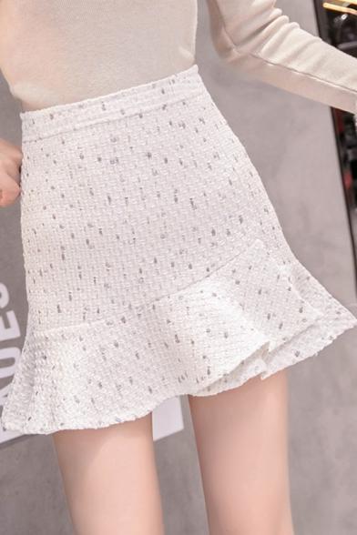 Girls Chic Pattern Tweed Ruffled Mini Fishtail Skirt