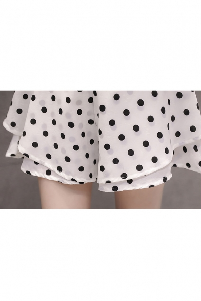 Girls Summer High Rise Fashion Polka Dot Printed Layered Culottes Shorts