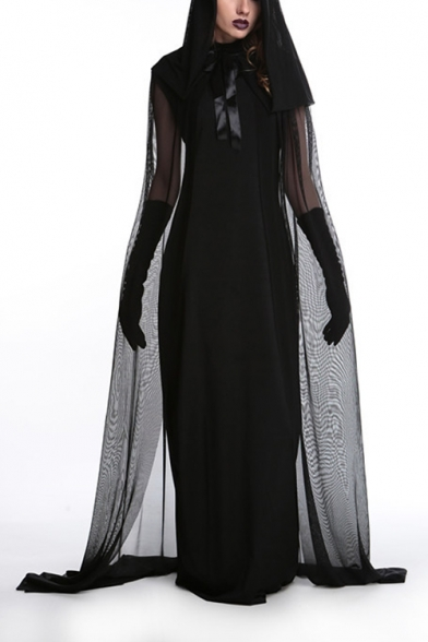 Halloween Cool Witch Cosplay Costume Hooded Longline Black Mesh Dress