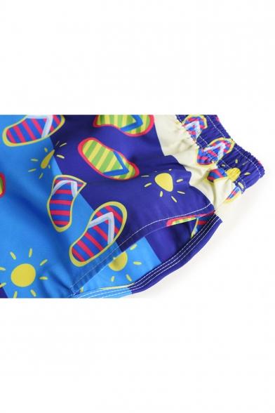 Men's New Designer Blue Slipper Cartoon Swim Trunks With Drawstring