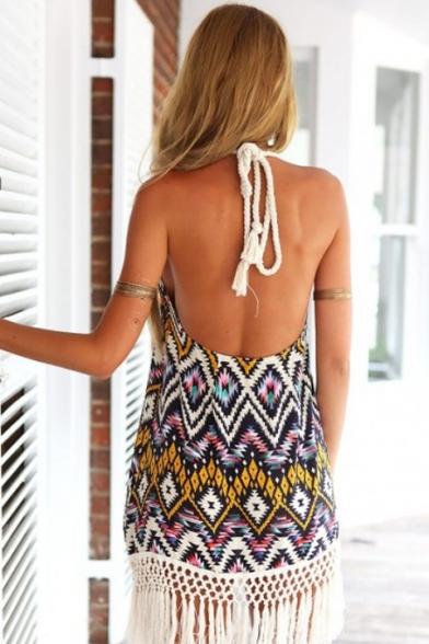 New Fashion Tribal Printed Halter Neck Tassel Hem Mini Beach Dress for Women
