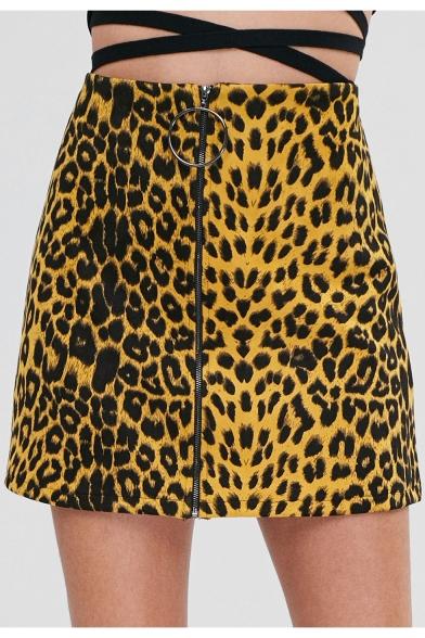 New Stylish Yellow Leopard Printed Zipper Front Mini A-Line Skirt