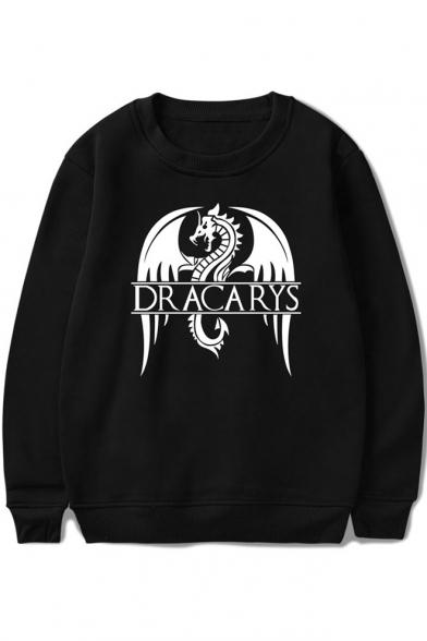 New Trendy Dragon Letter DRACARYS Print Basic Round Neck Long Sleeve Unisex Sweatshirt