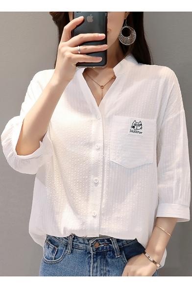 Купить со скидкой Simple Cartoon Cat Pocket Chest Three-Quarter Sleeve V-Neck White Button Shirt