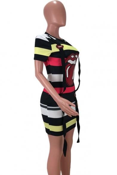 Summer Color Block Stripe Lip Printed Round Neck Short Sleeve Ribbon T-shirt Dress