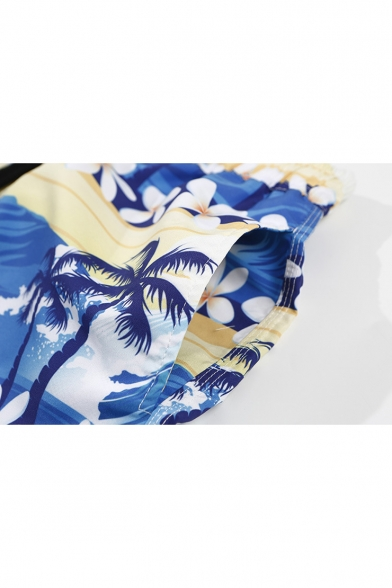 Summer Fashion Blue Tropical Coconut Palm Print Quick Dry Loose Fit Swim Trunks for Guys