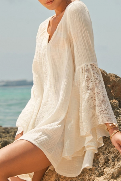 Summer Holiday Solid Color Chic Lace-Patched Bell Sleeve Mini White Dress for Women