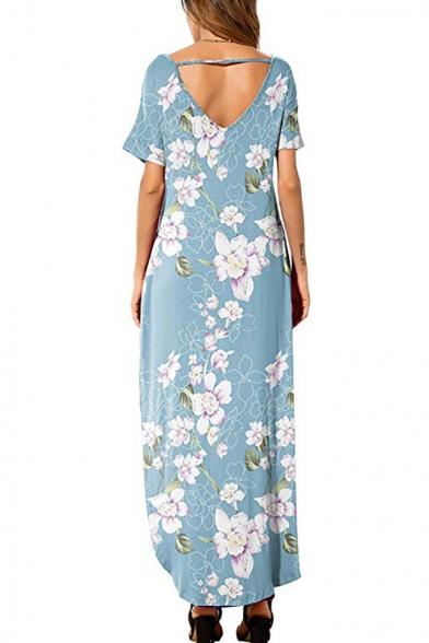 Summer Light Blue Floral Print V-Neck Short Sleeve Maxi Casual Shift Beach Dress