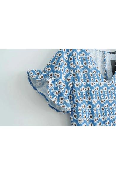 Summer Light Blue Floral Printed V-Neck Short Sleeve Holiday Mini Dress