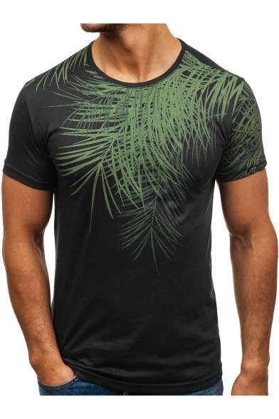 Summer New Stylish Tropical Leaf Pattern Short Sleeve Round Neck Slim Fit T Shirt For Men Beautifulhalo Com Idk but i'll probably use it for something eventually. summer new stylish tropical leaf pattern short sleeve round neck slim fit t shirt for men