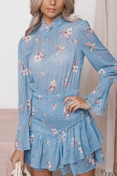Summer New Trendy Blue Floral Printed Stand Collar Long Sleeve Mini Ruffled Dress