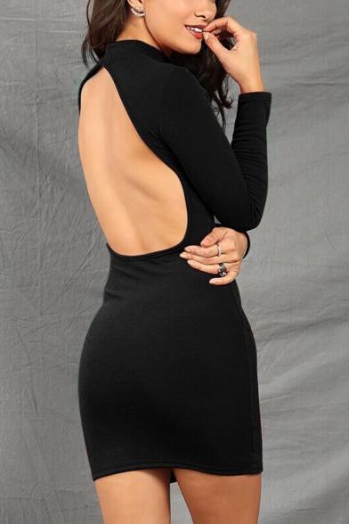 Summer New Trendy Simple Plain V-Neck Long Sleeveless Backless Mini Bodycon Black Dress for Women