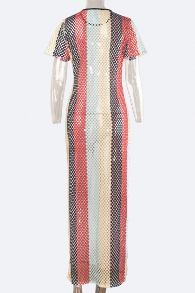 Summer Round Neck Short Sleeve Colorblock Stripe Sexy Hollow Out Fishnet Split Side Longline Cover Up Swimwear