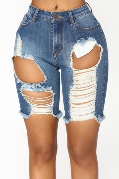 Summer Street Fashion Cool Big Hole Distressed Ripped Womens Skinny Light Blue Denim Shorts