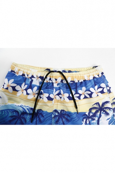 Summer Tropical Coconut Palm Floral Printed Men's Blue Casual Swim Trunks